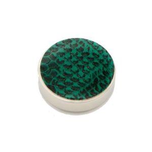 cache bouton vert façon cuir